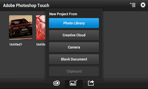 Adobe Photoshop Touch Android интерфейс