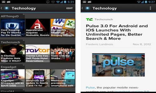 Pulse News Reader интерфейс