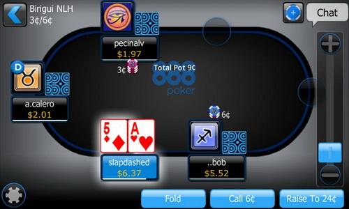 888 Poker Android интерфейс