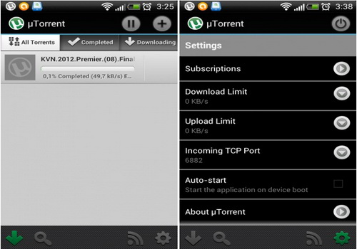 µTorrent Beta Android интерфейс